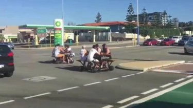 Video footage of a group of men riding on motorised picnic tables in Scarborough has gone viral on social media.