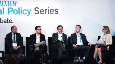 Rob Koh, Utilities and Infrastructure Research Analyst, Morgan Stanley, Saul Kavonic, Head of oil, gas, energy and renewables – Australasia, Wood Mackenzie, John Hirjee, Managing Director – Senior Research Analyst – Energy & Utilities, Deutsche Bank and Mark Samter, Director, Credit Suisse at the AFR energy summit on Tuesday.
