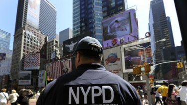 Beefed up ... security has been heightened in Times Square, New York, where a car-bomb attack was botched on Saturday.