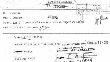 A cable sent after a Polish taxi driver from Canberra claimed to have knowledge of a plot to kill President Kennedy