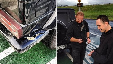 Photos tweeted by Megauplaod founder Kim Dotcom after a minor crash in Auckland.