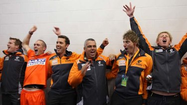 Breakthrough: Mark Williams celebrates after GWS' first victory - something unlikely to be repeated this week.