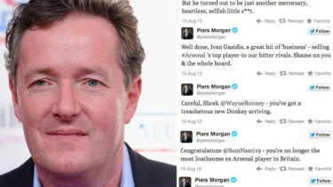 Angry ... Piers Morgan and some of his tweets.