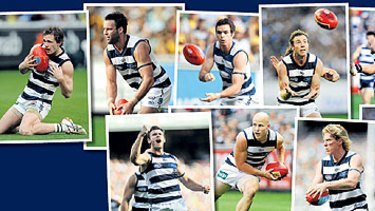 A team of champions: from left, Joel Selwood, Jimmy Bartel, Cam Mooney, Matthew Scarlett, Gary Ablett, Steve Johnson, Cameron Ling, James Podsiadly and Tom Lonergan.