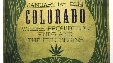 A sign celebrates opening day at the Botana Care marijuana store in Northglenn, Colorado.