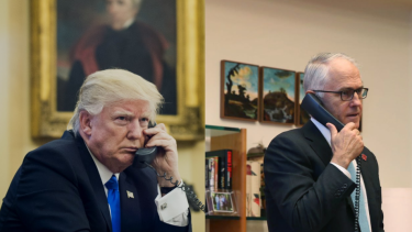 """Donald Trump and Malcolm Turnbull had a testy phone call over the refugee agreement that Trump labelled a """"dumb deal""""."""