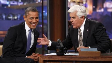 Comic response ... Barack Obama makes an appearance on the Tonight Show with Jay Leno.