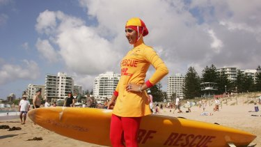 Mecca Laa Laa wears a burkini on her first surf lifesaving patrol at North Cronulla in 2007.