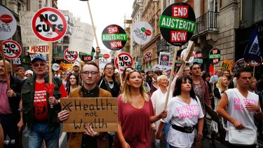 Singer Charlotte Church (centre) attends the anti-austerity demonstration in London.