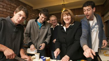 Joanne Ryan at home on Sunday with partner John Murnane and sons Michael, James and Anthony Patterson.