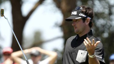 Near thing … Bubba Watson misses a putt yesterday.