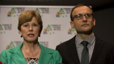 Critical of the government's attempt to rescind protection of 74,000 ha of Tasmanian wilderness ... Australian Greens leader Senator Christine Milne with Deputy Leader Adam Bandt.