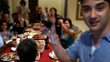James West at the Tran family Thanksgiving dinner.