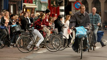 Safety in numbers ... rush hour in Amsterdam. <i>Photo: Penny Bradfield</i>