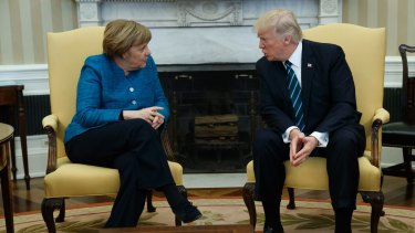 President Donald Trump meets with German Chancellor Angela Merkel in the Oval Office of the White House in Washington, Friday, March 17, 2017.