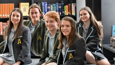 Albert Park College inaugral Year 12 students (left to right) Nicky Tzouvanellis , Jasper Blake, Campbell Rider, Chelsea Saw and Katie Lewis.