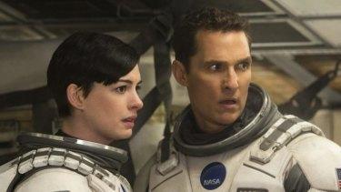 Anne Hathaway as a biotechnologist with Matthew McConaughey in <i>Interstellar</i>.