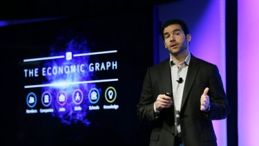 LinkedIn CEO Jeff Weiner speaks during a product announcement.