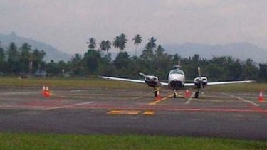 The Australian plane on the tarmac at Manado's Sam Ratulangi airport.