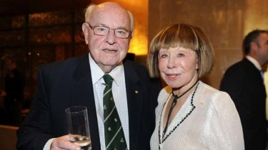 Fr Bob Maguire with Jeanne Pratt at his golden jubilee.
