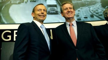 NSW Premier Barry O'Farrell, right, with Prime Minister Tony Abbott earlier this month. Mr O'Farrell has criticised Senator George Brandis over comments about bigots.