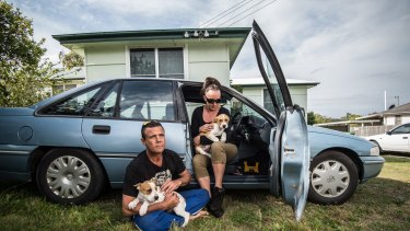 Anthony Cuskelly and Cindy Prior and their home of four years, a Holden sedan.