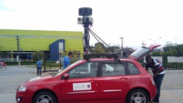 """A Google Street View car in action. Photo: <a href=""""http://www.flickr.com/photos/rbp/"""">RBP/Flickr</a>"""