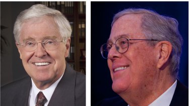 Charles Koch, left, chief executive of Koch Industries, and David Koch, executive vice-president of Koch Industries.