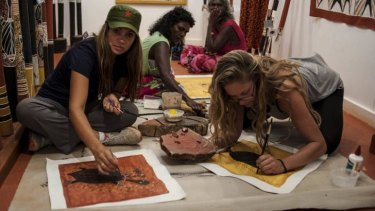 Sandy, left, experiences indigenous art on <i>First Contact</i> but she didn't remain for the whole documentary.