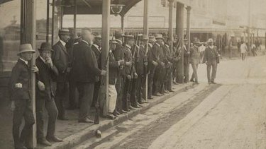 Special constables gathered in Brisbane for the general strike of 1912.