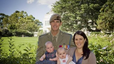 Corporal Benjamin Roberts-Smith, wife Emma and their five-month-old twins, Elizabeth and Eve, the Victoria Cross; the theatre of war in Afghanistan.