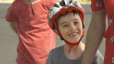 Five-year-old Toby becomes a bicycle rider.