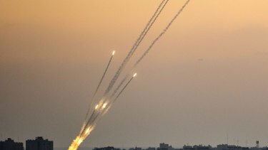 Rockets being fired from the Gaza strip into Israel.