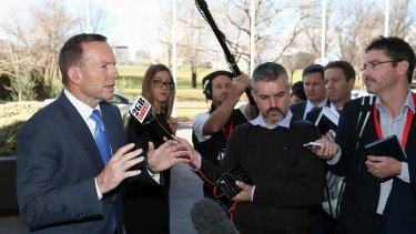 Prime Minister Tony Abbott addresses the media on Thursday.