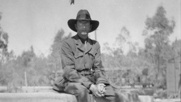 Captain C. E. W. Bean near Mena Camp in Egypt prior to departure to Gallipoli.