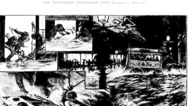 The Illustrated Australian News sketch of the Melbourne city floods.