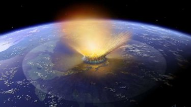 Deep impact: An artist's impression of a huge meteorite striking Earth 65 million years ago, sending the dinosaurs and many other life forms into extinction.