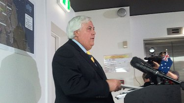 Clive Palmer fronts the media in Brisbane this afternoon.