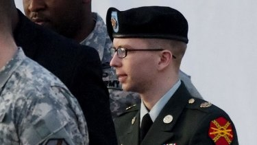 Private Bradley Manning leaves the latest hearing at Fort Meade.