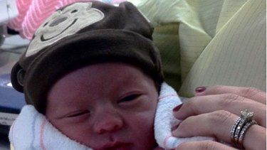 Baby Landon Haley, born after mum Jessica underwent IVF treatment funded by internet donors.