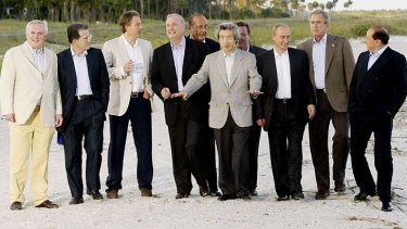 Tony Blair, third from left, at a G8 leaders' meeting in Sea Island, Georgia, in June 2004.