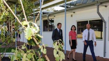 Premier Gladys Berejiklian, Education Minister Rob Stokes and Ultimo Public School principal, Nic Accaria.