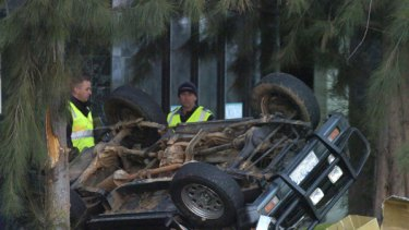 Wreckage of one of the vehicles that crashed with fatal results.