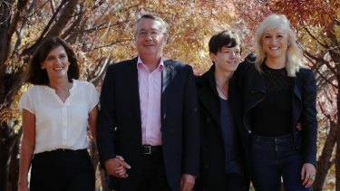 Treasurer Wayne Swan with his wife, Kim, and children Matt and Erinn at Lake Burley Griffin in Canberra.