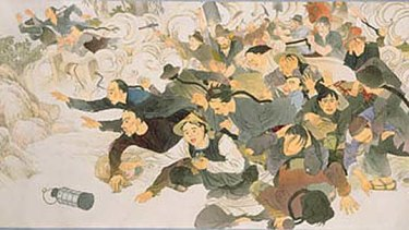 An illustration of the Lambing Flat riots on the goldfields of 1860-61.