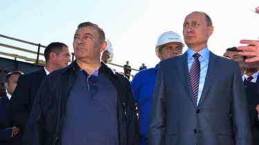 Billionaire businessman Arkady Rotenberg, pictured with Russian President Vladimir Putin, is one of several oligarchs flagged for sanctions in the US in retaliation for Russian election meddling.