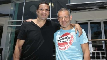 Anthony Mundine and WBA vice president Gilberto Jesus Mendonza in Canberra having a chat after lunch in Fyshwick.