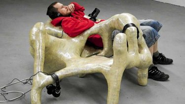 Enjoying a sculpture by Olafur Olafsson and Libia Castro.