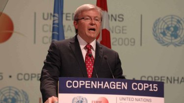 Former Prime Minister Kevin Rudd during an address at the United Nations Climate Change Conference in Copenhagen in 2009.