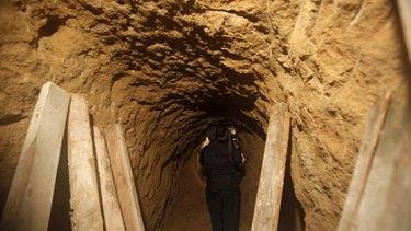 The secret tunnel discovered near the US-Mexico border in Tijuana, Mexico.